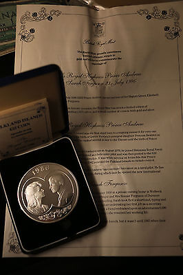 1986 Falkland Islands 25 Pound Silver Proof Coin Royal Wedding 150gms 65mm