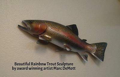 Rainbow Trout Sculpture Carving fly fishing art reel look wall mount Sage color