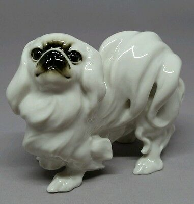 Hutschenreuther Germany White Pekingese Puppy Dog Porcelain Figurine with Label