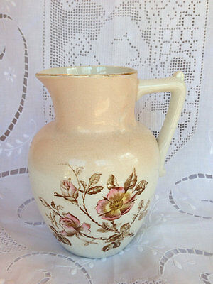 LOVELY Small VICTORIAN Antique Porcelain Pitcher WILD ROSES Transferware