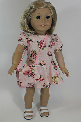 "Floral Dress w Purse for 18"" American Girl n Bitty Baby Doll Clothes Maryellen"