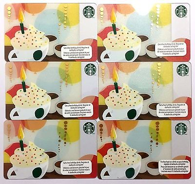 Lot of 6 Starbucks Card 2011 Happy Birthday Canada Version NEW