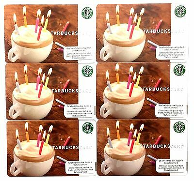 Lot of 6 Starbucks Card 2009 Happy Birthday Canada Version NEW