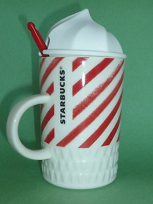 Starbucks Whip Top Mug with Spoon Red & White Christmas 2016 Cup 10 oz New