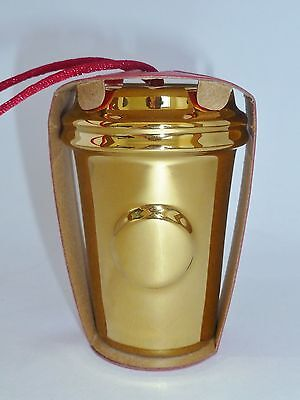 Starbucks Ornament Holiday Christmas 2014 Gold tone MetallicTo Go Cup New