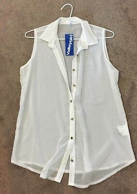 Valley girl Size 10 Brand New With Tags Women's Sheer White And Gold Blouse Top