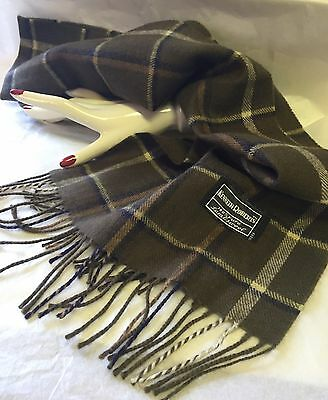 """KENNETH ROBERTS """"100% LAMBSWOOL"""" PLAID MENS SCARF---Soft & Warm-Estate"""