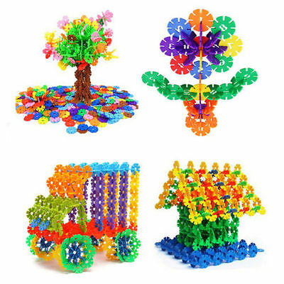 150x DIY Snowflake Puzzle Building Blocks Baby Kids Educational Toys Gifts