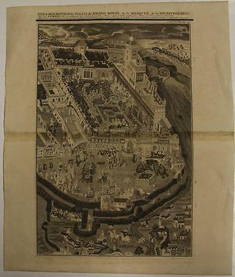 Mughal Royal Palace India 1719 Chatelain Antique Copper Engraved Plate