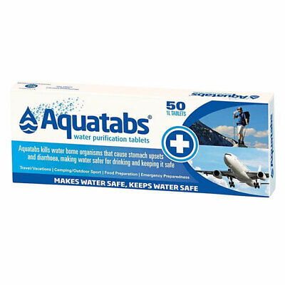 Aquatabs Water Purification Tablets 50 Tablets 1L Makes Water Safer To Drink