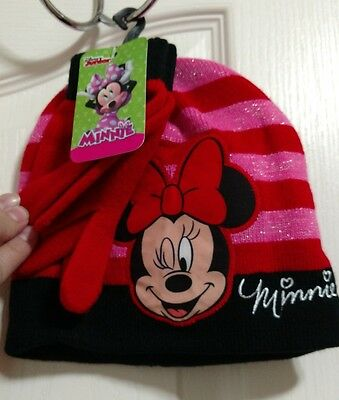 Disney Minnie mouse beenie and gloves set pink and red stripes