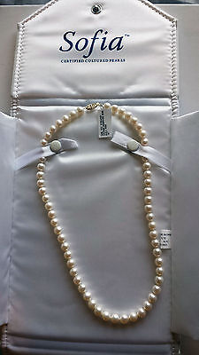 "Sophia Strand Cultured Pearl Necklace White/Cream Rose 18"" 14K Gold clasp"