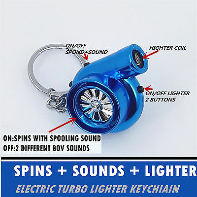 Rechargeable Electric Turbo Lighter keychain Blue chrome with BOV Sound