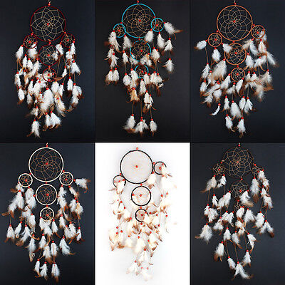 """Handmade Dream Catcher with feather wall hanging decoration ornament-21"""" long"""