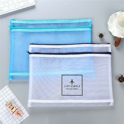 A4 Double Zippered Mesh Bags Translucent Colorful Document Pouch File Bag Statio