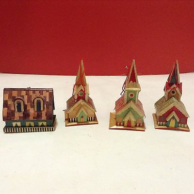 Dollhouse Miniature Ornaments Wood Church (x3) and a Cottage House Lot of 4