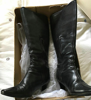 Laura Benini black leather knee-high boots - size 7.5