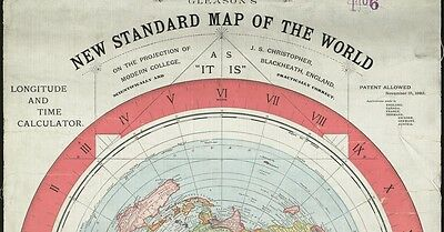 FLAT EARTH A1 POSTER: GLEASON'S NEW STANDARD MAP OF WORLD 1892 (170gsm)