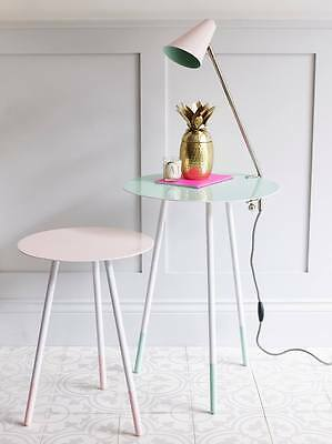 Pink Round Table.Bombay Duck Pale Pink Round Side Table Light White Enamel Small Wine Table
