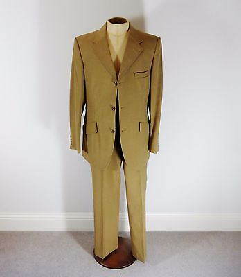 "Vintage 1940's Style 2 Piece Mustard Brown Suit - 41"" Reg Chest / 36"" Waist"