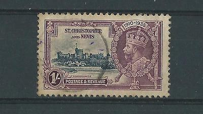 St Kitts SG64 1935 Silver Jubilee 1/- Good Used (crease)