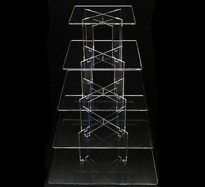 5 Tier Square Acrylic Cupcake Party Wedding Cake Stand