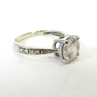 9ct White Gold Ring With CZ Cubic Zirconia Solitaire + 10 Stones in Band-Size M
