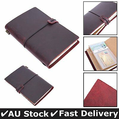 Leather Cover Handmade Bound Notebooks Journal Diary Sketchbooks Refillable Red