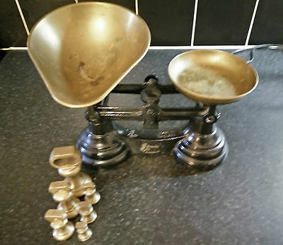 Vintage Librasco Balancing Scales & 6 Imperial Bell Weights 1 Oz - 1Lb Free Pp