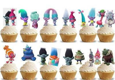 24 x TROLLS Edible Cup Cake Fairy Toppers Birthday Party Wafer STAND UP