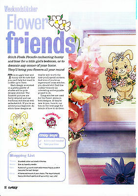 Cross Stitch Chart - Flower Friends Bunny And Bear For Cross Stitching
