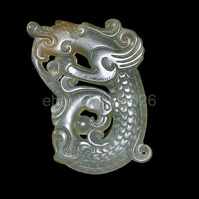 Chinese old natural jade hand-carved statue double phenix pendant ~dragon