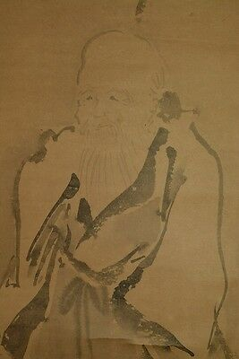 Hanging Scroll God longevity Crane Japanese painting Antique Japan Old ink a309