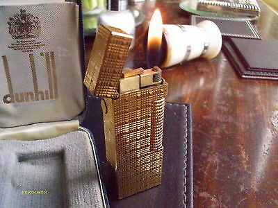 DUNHILL LIGHTER GOLD ROLLAGAS,TARTAN pattern case,NEW FUEL VALVE,BOX & PAPERS