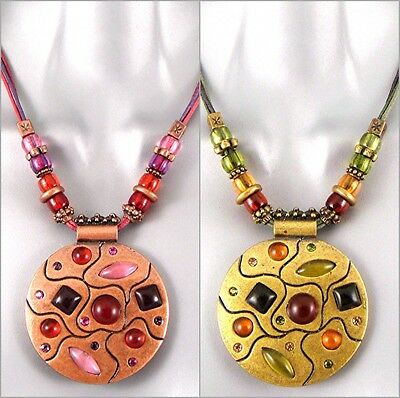 Chic Gypsy Ethnic African Copper Olive Gem Kuchi Medallion Disc Pendant Necklace