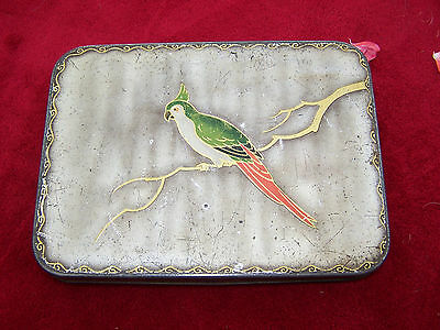 Vintage Biscuit Tin William Crawford And Sons Parrot