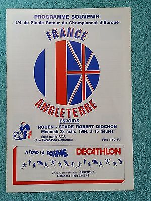 1984 - FRANCE v ENGLAND PROGRAMME - U21 EUROPEAN CHAMPIONSHIP QUARTER FINAL