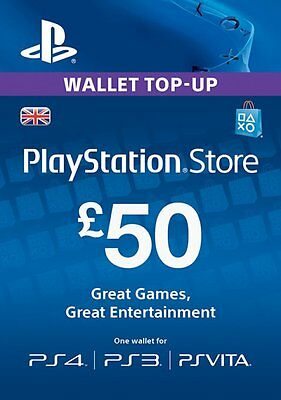 PlayStation Network Card £50 PSN PS4 PS3 PSP – UK Pound - Instant Codes