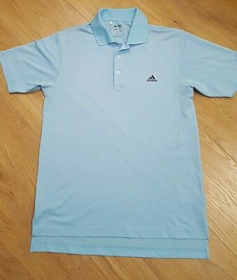 Men's adidas golf top of range sky blue climalite polo shirt / top small rrp£30