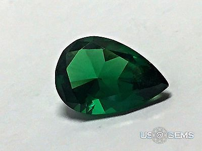 Emerald Dark #0/2. Pear 10x7 mm. 2,6 Ct. Monosital Created Gemstone. US@GEMS