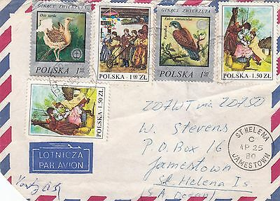 B 399 Inward 1980 mail to St Helena from Poland; 5 stamps