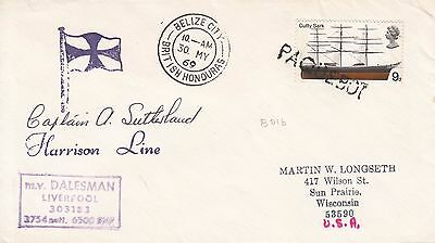 B 477 Belize City British Honduras Paquebot May 1969 cover to USA