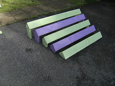 Dog agility training equipment stained long jumps made to K.C regulations.