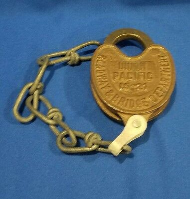 Vintage UP Union Pacific Brass Railroad Heart Shaped Lock - Adlake
