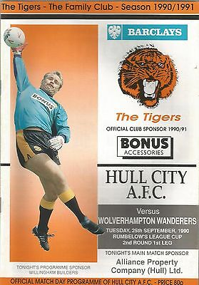 Hull City v Wolverhampton Wanderers, 25 September 1990, League Cup