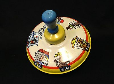 VINTAGE OHIO ART  Tin Toy Spinner Top CIRCUS DESIGNED/ WORKS PERFECT