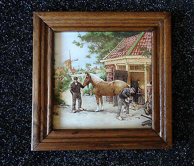 Vintage Holland Framed Tile~Horse~Farrier~Trim~Equine~Ethnic~Decor~Pony~Shoes