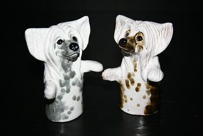 Chinese Crested set of spices (2 pc) dog ceramic figurine statuette