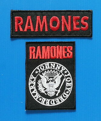 2 LOT RAMONES Easy  Iron Embroidered Sewn On Iron On  Patches Free Ship