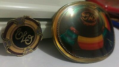 ELO Electric Light Orchestra 1977 Pacifica Mfg  Belt Buckle and  pinback button